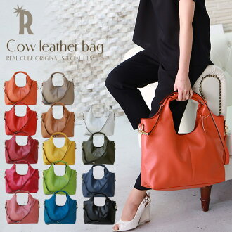 ☆ ★ REAL CUBE 2 cowhide leather with multi-inner-pocket bag with shoulder strap (Womens) (V65121210)