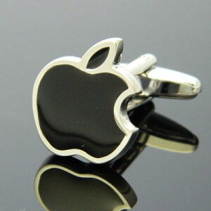 アップルファン、アップルユーザー、iphoneユーザーにお勧めブラックアップル Apple カフス カ...