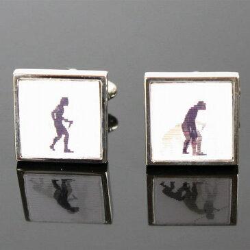 鎌倉カフス工房 3D猿から人へ進化するカフスボタン・カフリンクス メンズ cf047