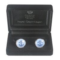 Swank&RoyalCopenhagenスワンク&ロイヤルコペンハーゲンホワイトブルーデザイン3カフスボタンメンズrcsw015