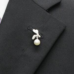 【カフスマニア】ラペルピン・蜂と揺れるアコヤ真珠パール7.0のブローチ(タイタック)【対応】【5,400円以上で送料無料】【_包装選択】【_メッセ入力】