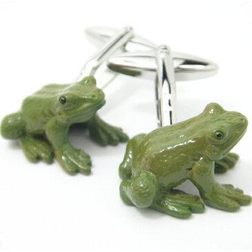 蛙にビックリひっくりカエル?!かえるのカフス(カフリンクス/カフスボタン/cufflinks/cuffs/メンズ/男性)結婚式 ユニーク 動物・植物シリーズ