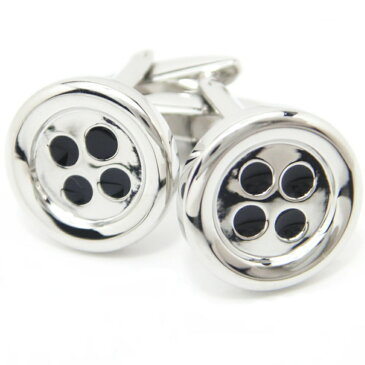 逆の発想で楽しいボタン型のシルバーカフス(カフリンクス/カフスボタン/cufflinks/cuffs/メンズ/男性)結婚式 ユニーク リアルなモチーフ シルバー