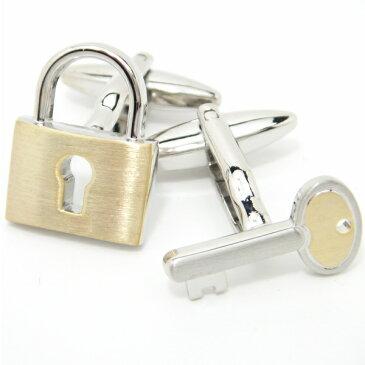 二つで一つ♪シルバー×ゴールドの鍵カフス(カフリンクス/カフスボタン/cufflinks/cuffs/メンズ/男性)結婚式 リアルなモチーフ ゴールド シルバー