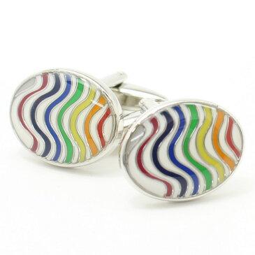 虹色レインボーとエナメルの艶やかカフス カフスボタン カフリンクス cufflinks cuffs メンズ 男性