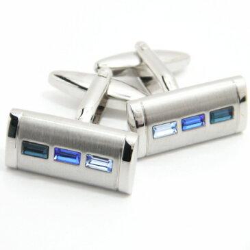 ブルーのグラデーションストーンのカフス(カフリンクス/カフスボタン/cufflinks/cuffs/メンズ/男性)カフスマニア
