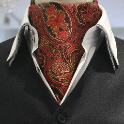 アスコットタイ メンズ 結婚式 レッド イエロー ペイズリー フラワーデザイン ジャカード アスコット スーツアクセサリー専門店 父の日 ギフトにも 男性 誕生日 プレゼント プチギフト おしゃれ カフスマニア