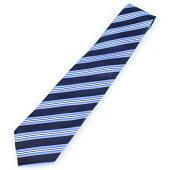 【カフスマニア】日本製・シルク100%・レジメンタルストライプ・ブルー×ライトブルーの京都西陣織ネクタイ