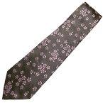 富士桜工房 鼠 桜花 日本製シルクジャカードの和風 ネクタイ
