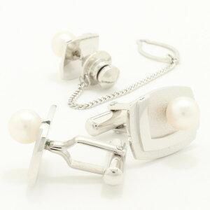 【カフスマニア】アコヤ真珠6.5レクタングルVライン・デザインのカフス&タイタックのセット【対応】【5,400円以上で送料無料】【_包装選択】【_メッセ入力】