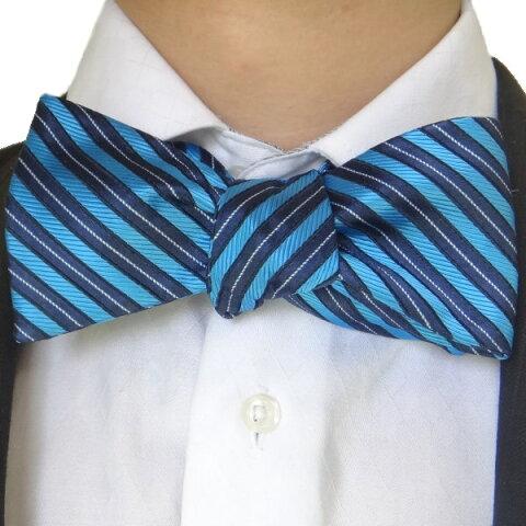 蝶ネクタイ ネイビー×ブルーのレジメンタルが爽やかなシルクのボウタイ 誕生日 プレゼント おしゃれ カフスマニア