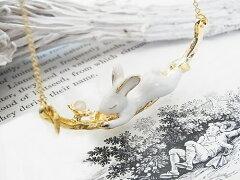 【着後レビューでゆうメール送料無料】小枝の上で寝ているカワイイ兎(うさぎ)ネックレス ウサギ...