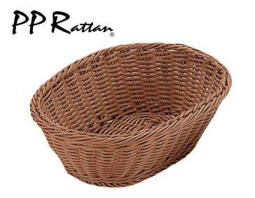 【PPRattan】PP小判型バスケット ブラウン 24型 OV-110-BR WBS-41[関連:樹脂製 洗えるバスケット 楕円 盛り篭 食器洗浄機対応 野菜 フルーツ 小物 カゴ]