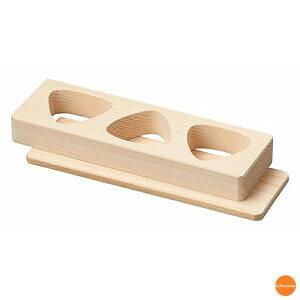 朴 おにぎり抜型(敷板付) 3穴 BON-61[関連:ヤマコー 用美 業務用 物相型 木製 お…