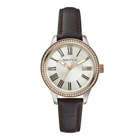 ノーティカNAUTICA時計腕時計ノーティカ時計レディースNAUTICAA12654MBFD101DATECLASSICSPORTYDRESSデイトクオーツ腕時計ウォッチブラウン/シルバー