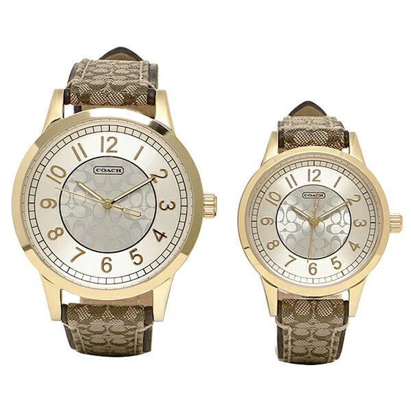 COACH コーチ ペアウォッチ 時計 メンズ/レディース 14000043 ニュークラシックシグネチャー 腕時計 ウォッチ カーキ/シルバー