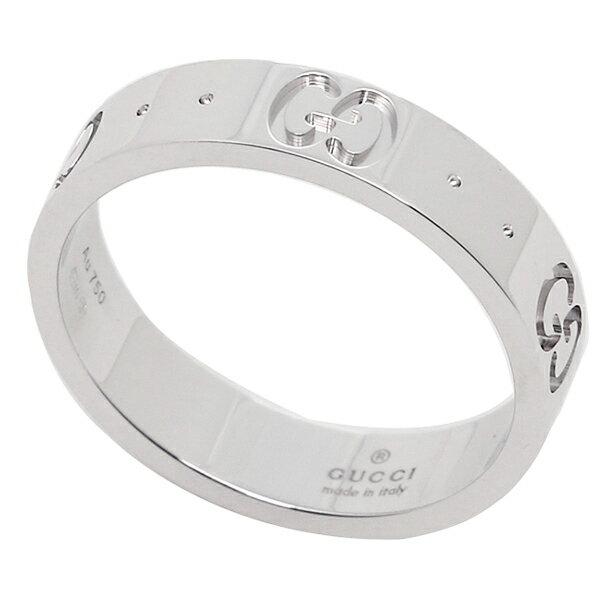 74f0abb59565 GUCCI/グッチGGアイコンを上質なホワイトゴールドにエンボス加工した細めのリング