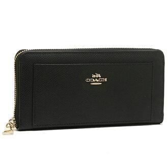 Coach COACH outlet wallets purse coach purse outlet COACH F52648 IMBLK cross grain leather zip around wallet black