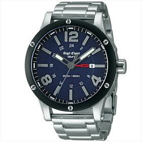 エンジェルクローバー時計メンズANGELCLOVERエクスベンチャーGMT腕時計ウォッチシルバーネイビー