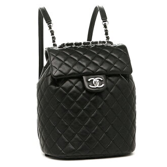 Chanel bags CHANEL A91121 Y60440 94305 lambskin silver metal rucksack backpack BLACK