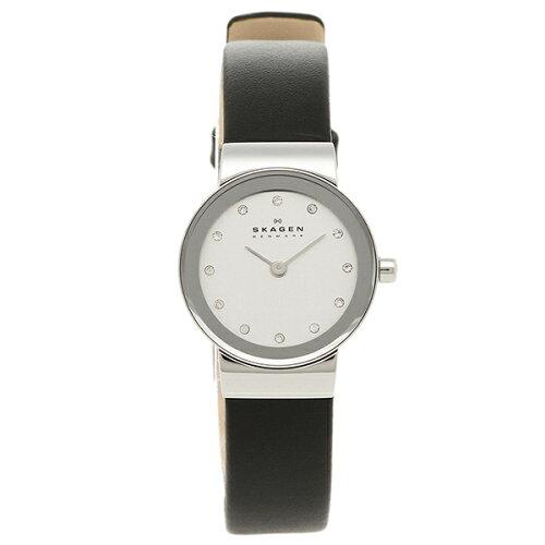 スカーゲン SKAGEN 腕時計 時計 358XSSLBC レザー ウォッチ シルバー/ブラック