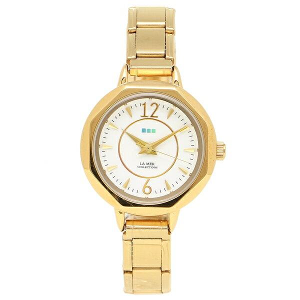 【4時間限定ポイント10倍】ラメール コレクションズ 腕時計 レディース LA MER COLLECTIONS LMDELMAR001 イエローゴールド ホワイト