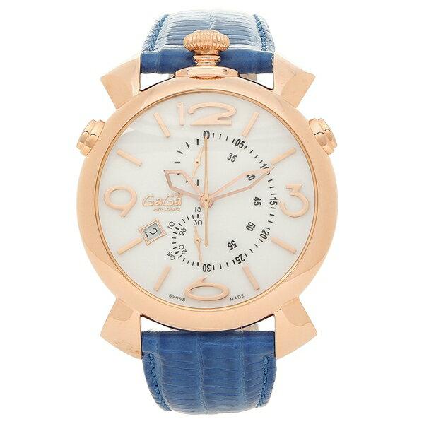 ガガミラノ 腕時計 メンズ GAGA MILANO 5098.01BT-N ホワイト ブルー ピンクゴールド
