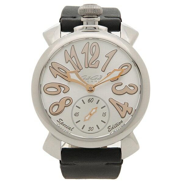 GAGA MILANO 腕時計 メンズ 手巻き ガガミラノ 5010.SP01-BLK ブラック シルバー