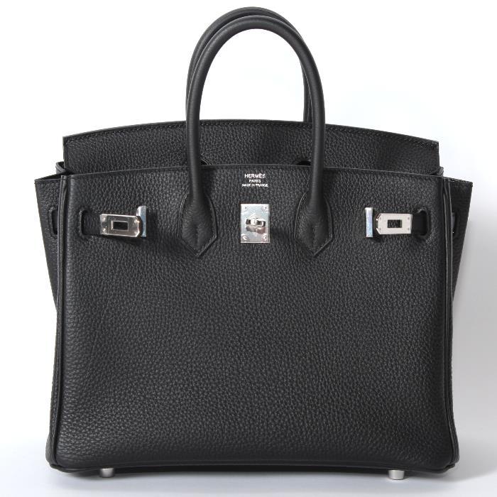 レディースバッグ, ハンドバッグ HERMES 25cm Birkin bag 25 Black Togo leather bag