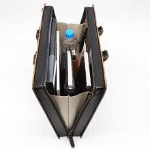 枯淡(コタン):A4サイズ3方ファスナーガラス加工レザー2wayブリーフケース[3703]