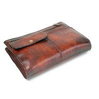 G-3:フロントポケット付シャドー仕上げストラップハンドルセカンドバッグ[5214]