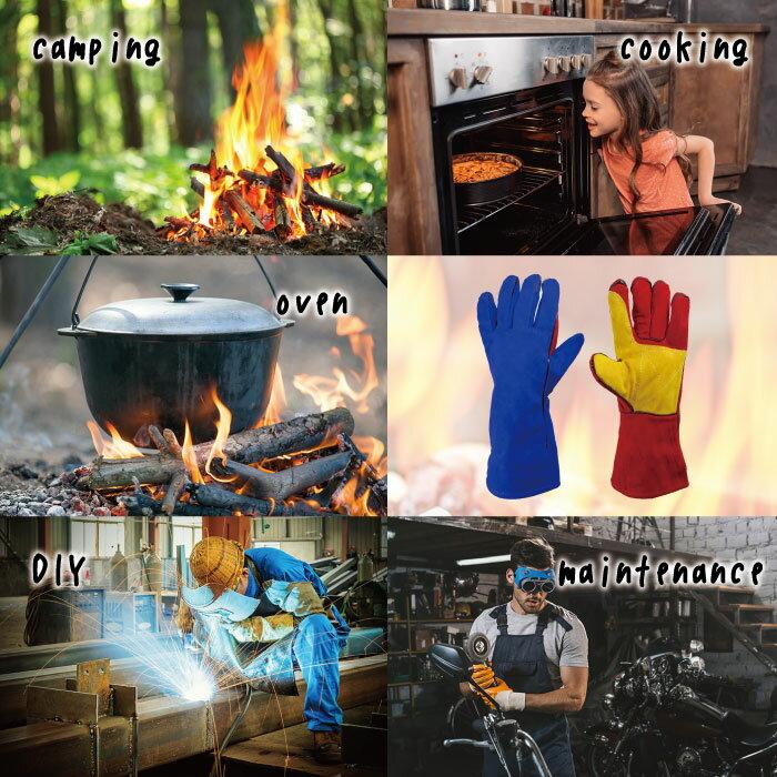 焚き火グローブ 手袋2枚(両手1set) キャンプグローブ 耐熱グローブ bbq 補強済 裏起毛 牛革 フリーサイズ オーブン料理や薪割り、DIYでの溶接にかっこいいレザーグローブ 焚火 たき火