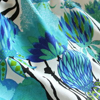 カーテンVALLILAヴァリラバリラ北欧北欧ブランドカーテンバップクッカオーダーかわいいおしゃれ花柄幅150幅100幅200丈178丈200ブルー青生地1.5倍ヒダフラットタイプ