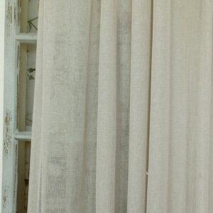 レースカーテン トルコレース Premium linen プレミアムリネン 1.5倍ヒダ フラット ストレート アイボリー ブラウン リネン シンプル