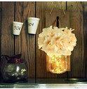 壁掛けフラワーライト メイソンジャーライト ハンドメイド 壁掛けアートLED フェアリーライト ホワイト 牡丹 ファームハウス キッチン デコレーション 壁装飾 リビングルーム 花瓶 ライト 2個セットFL-9507 ハーベストジャパン