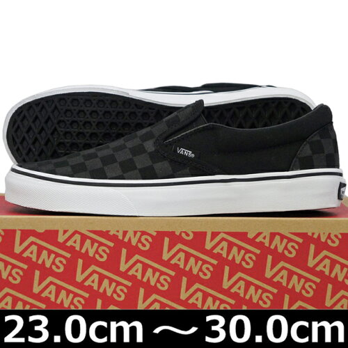 VANS ヴァンズ Classic Slip-On BLACK/BLACK CHECKERBOARD ( 23-30cm )【VANS ヴァンズ ばんず ス...