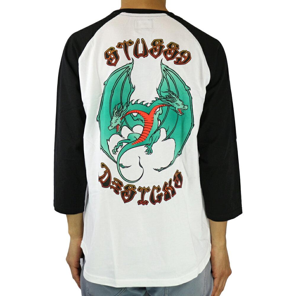 トップス, Tシャツ・カットソー STUSSY Double Dragon Raglan (WhiteBlack) 7 17HO