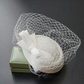 ベール付きシルクトークハットトーク帽フォーマルウェディングヘッドドレス小花造花ブライダル結婚式レース柄髪飾りカクテル帽ベージュ