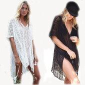 ゆうパケット送料無料夏服薄い♪涼しい体形カバー日焼け止めのガウン大きいサイズビーチスカートレディースファッション水着の上に着るコートオールインワンyy026h