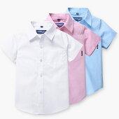 メール便送料無料半袖フォーマルシャツ男の子タキシードシャツホワイトブルー子供服ワイシャツ半袖可愛いet039h
