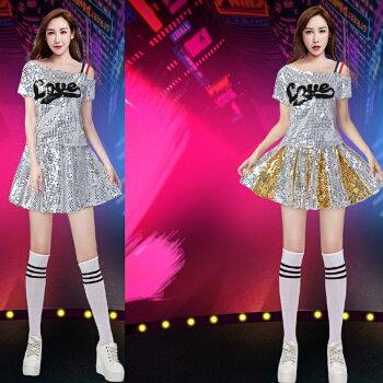 チアガール衣装上下セットダンスウェアサッカー半袖ダンス衣装tシャツスカートカジュアルステージ衣装レッドホワイトブルーレディース女性用lt138z