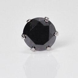 プラチナ・ブラックダイヤモンド0.3ct シングルピアス 片耳用 メンズ
