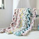 2M 3本編み 寝返り防止クッション ベビーベッドガード ロープ ソファクッション まくら ベビーガード 赤ちゃん ベッドガード ベビーガードクッション 取り外し 持ち運びに便利 出産祝い 寝返り防止 編み ノットクッション 赤ちゃん 結び目