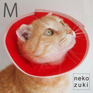 フェザーカラー【ドット柄Mサイズ】猫用ソフト軽量エリザベスカラー、手術、怪我、術後の傷口保...