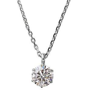 ダイヤモンドネックレス一粒K18ホワイトゴールド0.1ctダイヤネックレス6本爪KカラーI1クラスPoor中央宝石研究所ソーティング済み