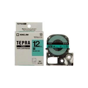 【ポイント10倍】(業務用50セット)キングジムテプラPROテープSC12G緑に黒文字12mm【×50セット】