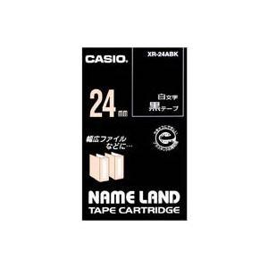 【ポイント10倍】(業務用30セット)カシオCASIOラベルテープXR-24ABK黒に白文字24mm【×30セット】