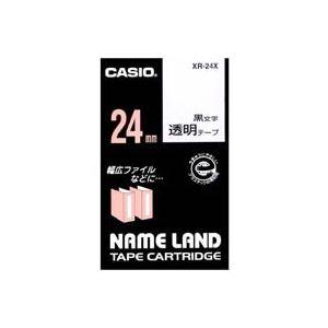 【ポイント10倍】(業務用30セット)カシオCASIO透明テープXR-24X透明に黒文字24mm【×30セット】