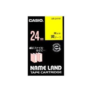 【ポイント10倍】(業務用30セット)カシオCASIOラベルテープXR-24YW黄に黒文字24mm【×30セット】