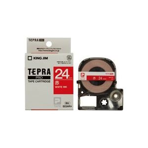 【ポイント10倍】(業務用30セット)キングジムテプラPROテープSD24R赤に白文字24mm【×30セット】